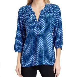 Joie Addie B Print Silk Blue Blouse Women's Size S